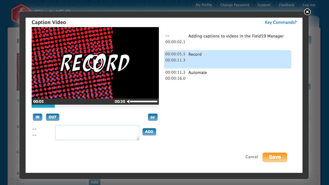 Adding captions to videos in the Field59 manager